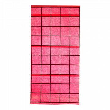 langbaan shoji met zwarte latten, oprolbaar, rood papier, 100 x 200 cm