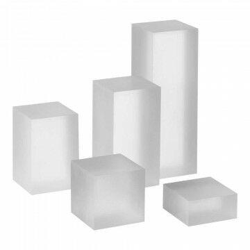 Displayzuilenset mat, b5xd5cm, 2.5+5+7.5+10+15cm hoog, transparant kunststof
