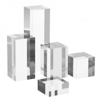 displayzuilenset massief, set van 5 maten: 2.5, 5, 7.5, 10, 15cm, transparant kunststof, 5 cm