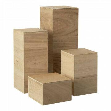 Displayset smal 40+30+20+10cm hoog, 15x15 en 13x13cm, naturel hout