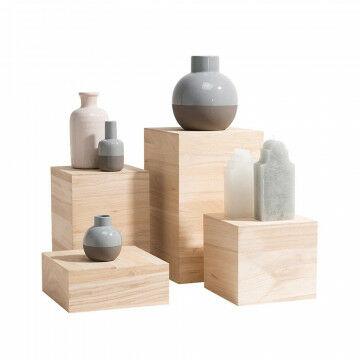 displayset breed set van 4 maten: 10, 19.5, 29.5 en 39.5cm, naturel hout, 40 x 25 x 25 cm