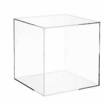 vitrinekubus met deksel, transparant acrylaat, 25 x 25 x 25 cm