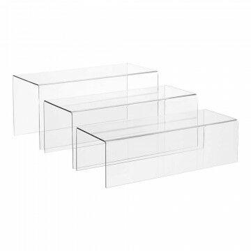 Bankjes 3-delig 34x15x16, 34x14x13 en 34x13x10cm, 3mm dik, transparant kunststof