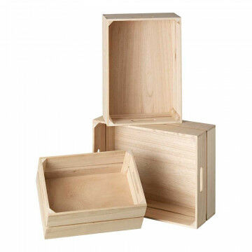 kisten set polino in 3 maten: 40x30, 36x26, 31,5x22 cm, naturel hout