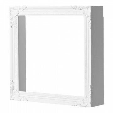 displaykastje 'ornament' glanzend, binnenmaat 48x48cm, wit hout, 60 x 60 cm