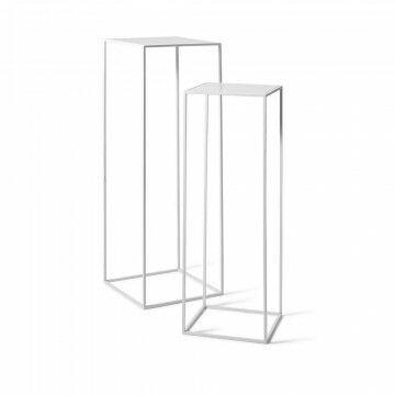 zuilen quadro 35x35x105 en 30x30x90cm, nestend, wit metaal