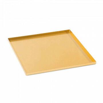 basisplateau geschikt als bodemplaat of deksel, goud metaal, 20 x 20 cm
