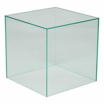 vitrinekubus glaslook 1 zijde open, geschikt voor bodemplaat, transparant acrylaat, 35 x 35 x 35 cm