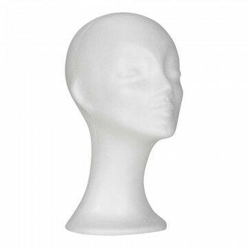 tempex Hoofd dame, wit kunststof, 33 cm