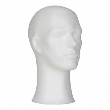 tempex hoofd heer, wit kunststof, 33 cm