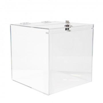 vitrinekubus met scharnierende deksel met slot, transparant acrylaat, 30 x 30 x 30 cm