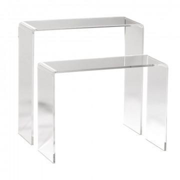 bankjes 2 delig, 15+20cm hoog, transparant acrylaat, 7 x 20 cm