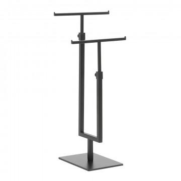 t standaard dubbel in hoogte verstelbaar, zwart metaal, 16 x 12 x 69 cm