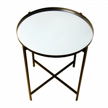 tafel specchio met ronde spiegel bovenplaat, bruin metaal, 55 x 55 x 65 cm