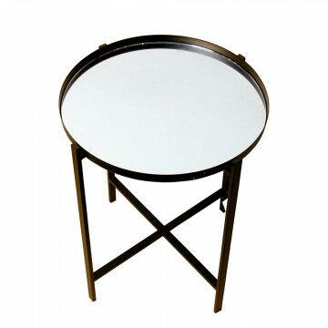 tafel specchio met ronde spiegel bovenplaat, bruin metaal, 50 x 50 x 45 cm