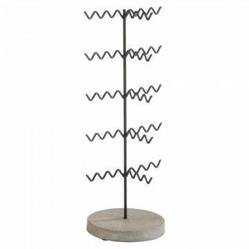 brillendisplay wave met betonnen voet die stevig staat, zwart metaal, 44 x 16 cm