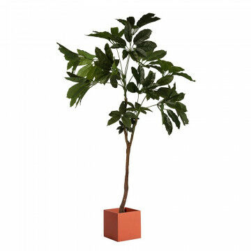 Kunstplant geldboom met bak vierkant oranje