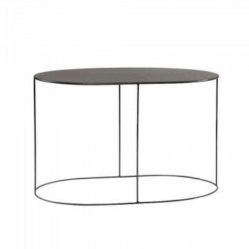 ovalen display tafel mooi strak afgewerkt, zwart metaal, 100 x 48 x 65 cm