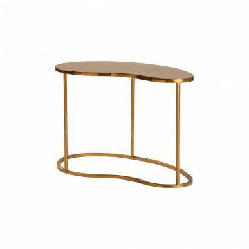 tafel kidney s, organische vorm, in 2 maten leverbaar, goud metaal, 57 x 35.5 x 38 cm