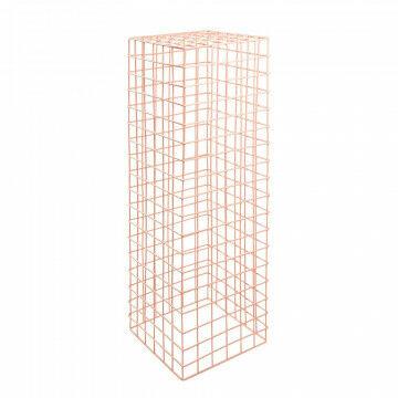 zuil draadstaal, zijdeglans finish, extra stevig, gebruik als pilaar staand of liggend, roze metaal, 30 x 30 x 90 cm