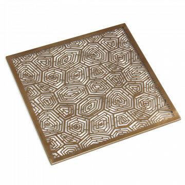 decoratie plateau schildpad, opengewerkt blad, gebruik in kubus van 30x30cm, goud metaal, 29.5 x 29.5 x 0.5 cm