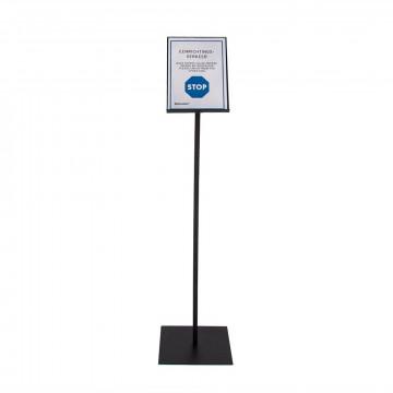 Informatiedrager A4 formaat,  125 cm hoog, zwart metaal