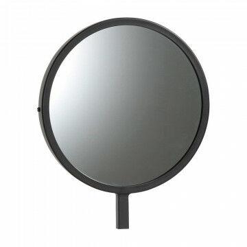 kleine ronde spiegel speciaal voor de vmframe vloerstandaards, zwart metaal, 25 x 30 cm