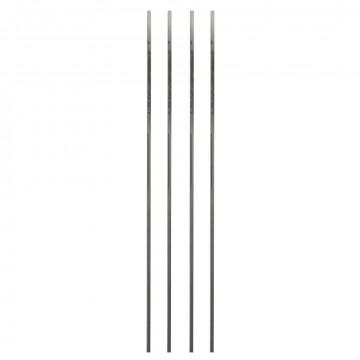 vmframe-base buizen zonder uitsparingen om hoeken mee te maken, set van vier losse buizen, grijs metaal, 200 x 1.5 x 1.5 cm