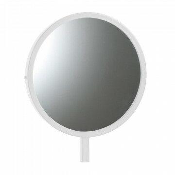 kleine ronde spiegel speciaal voor de vmframe vloerstandaards, wit metaal, 25 x 30 cm