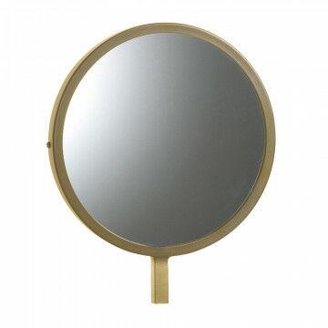 kleine ronde spiegel speciaal voor de vmframe vloerstandaards, goud metaal, 25 x 30 cm