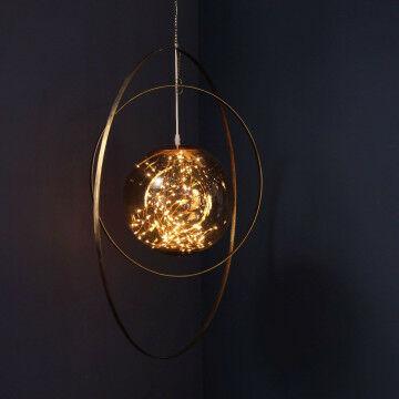 Lichtbol in metalen cirkelset, 80 cm.