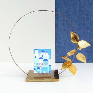 Presentatieplateau met cirkel, bladeren en standaard