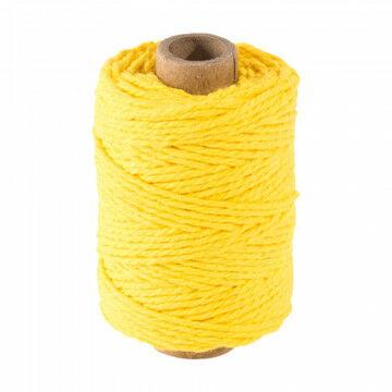katoenen koord op traditionele spoel, geel textiel, 50 cm