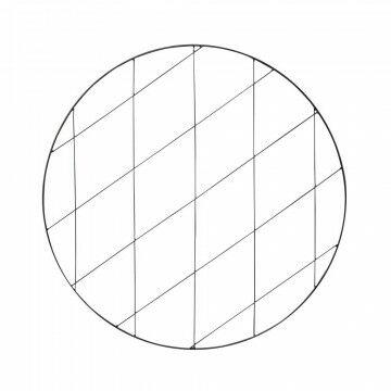 cirkelframe met draadraster, gepoedercoat, zwart metaal, 0.6 x 75 cm
