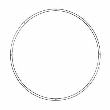 open cirkelframe 80cm dubbele buitenring met 8 bevestigingsogen, zwart metaal, 84 cm