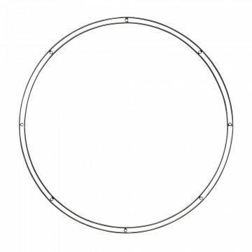 cirkelframe dubbele buitenring met 8 bevestigingsogen, zwart metaal, 64 cm