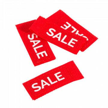 label sale voor aan een kledinghanger maakt het overzichtelijk voor je klanten, rood textiel, 5 x 2 cm