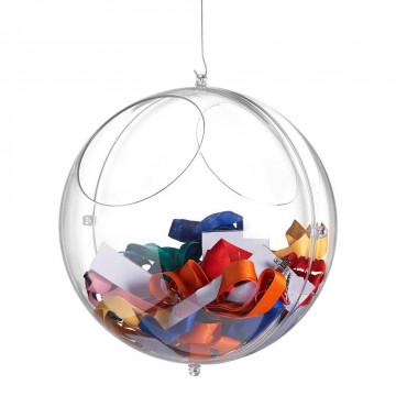 Displaybol 'Link' met grijpgaten, koppelbaar d.m.v. 4 ogen, transparant kunststof, 30 cm