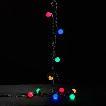 lichtsnoer party multicolour 10 led bolletjes, zwart snoer, koppelbaar, kunststof, 500 cm