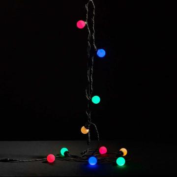 lichtsnoer party multicolor 10 led bolletjes, zwart snoer, koppelbaar, multicolor kunststof, 500 cm
