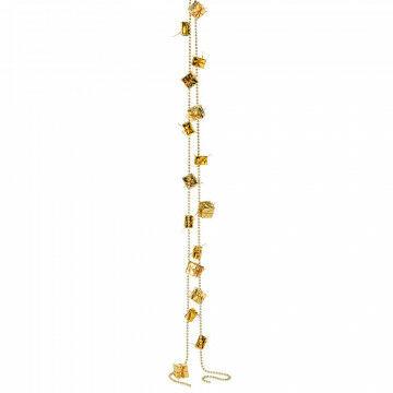 pakjesguirlande met kralenketting met 2 maten pakjes, champagne kunststof, 270 cm