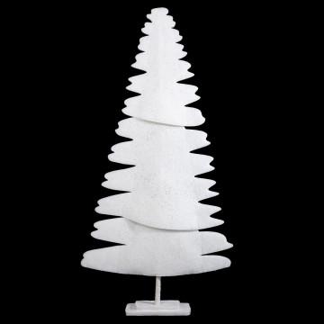 kerstboom cartoon driedelig met geglitterde finish en voet, wit dacron, 174 x 87 cm