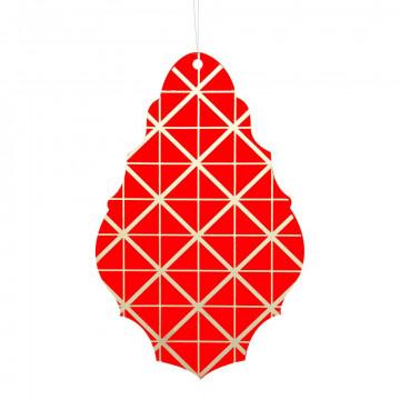 Ornament 'Kroonhanger' met ruit motief goud, rood kunststof, 25 cm