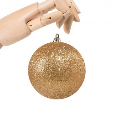 kerstbal donkergoud in glitter finish 2019, onbreekbaar, goud kunststof, 10 cm