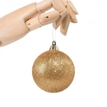 kerstbal donkergoud in glitter finish 2019, onbreekbaar, goud kunststof, 7 cm