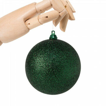 kerstbal in glitter finish en onbreekbaar, groen kunststof, 10 cm