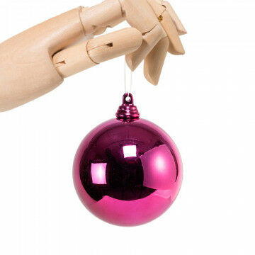 kerstbal in framboos glanzende finish en onbreekbaar, paars kunststof, 7 cm