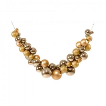 kerstbalboog mix van 57 glanzende, matte en glitter ballen, goud kunststof, 100 cm