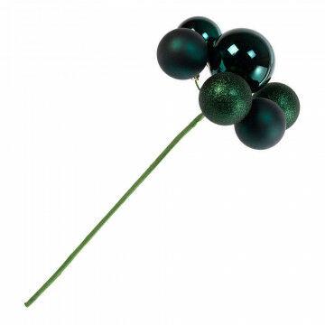 kerstbaltoef mix van glanzende, matte en glitter ballen, groen kunststof, 19 cm