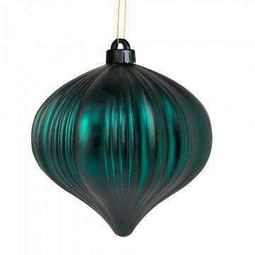 kerstbal ui vorm brandvertragend en onbreekbaar, groen kunststof, 15 cm